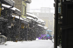 TAKAYAMA, JAPAN - JANUARY 19: A snowy day in takayama city espec Stock Images