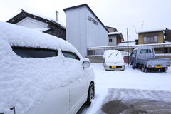 TAKAYAMA, JAPAN - JANUARY 19: Takayama in the snow  a city which Royalty Free Stock Photo
