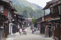 TAKAYAMA, JAPAN - MAY 03: Unidentified people at Sannomachi Stre. Et, the old town area which has museums and old private houses, some survive from Edo period on Stock Images