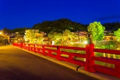 Takayama Naka-Bashi Bridge River Lighted Night H Stock Photo