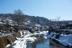 Takayama pendant l'hiver Photographie stock