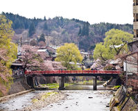 TAKAYAMA AT RED BRIDGE ON FESTIVAL TIME Stock Photos