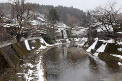 Takayama. The Takayama town covered with snow in winter Stock Image