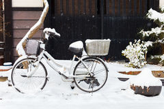 Takayama town details. Bicycle and details of old district at historical Takayama town in Japan on winter day Royalty Free Stock Image