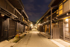 Takayama town in night at gifu japan. Old district wooden houses at historical Takayama town in night at gifu japan Royalty Free Stock Photography