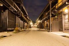 Takayama town in night at gifu japan. Old district wooden houses at historical Takayama town in night at gifu japan Stock Photo