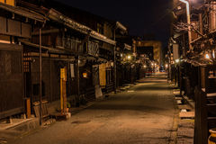 Takayama town in night. Old district wooden houses at historical Takayama town in night at gifu japan Stock Image