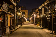 Takayama town in night. Old district wooden houses at historical Takayama town in night at gifu japan Royalty Free Stock Photo