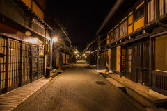 Takayama town in night. Old district wooden houses at historical Takayama town in night at gifu japan Stock Images