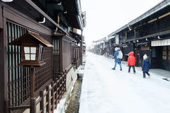Takayama town. Old district wooden houses at historical Takayama town in Japan on winter day Stock Image