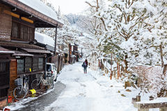 Takayama town. Old district wooden houses at historical Takayama town in Japan on winter day Royalty Free Stock Photo