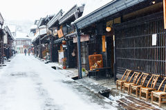 Takayama town. Old district wooden houses at historical Takayama town in Japan on winter day Royalty Free Stock Image
