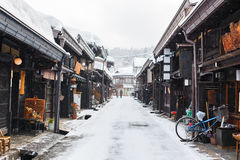 Takayama town. Old district wooden houses at historical Takayama town in Japan on winter day Royalty Free Stock Photos