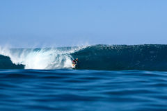 Takayuki Wakita Surfing at Pipeline in Hawaii Stock Photography