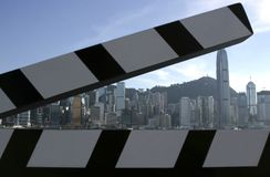 Take 43. Taken at the film boulevard in Hong Kong, with the Hong Kong skyline as background Royalty Free Stock Images