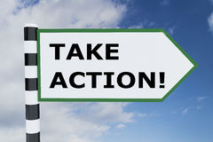 Take Action concept. 3D illustration of TAKE ACTION! script on road sign Stock Photo