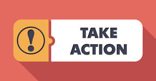 Take Action Concept in Flat Design. Royalty Free Stock Photos
