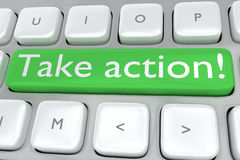 Take Action concept. Render illustration of computer keyboard with the print Take action! on a green button Stock Images