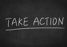 Take action. Concept word on blackboard background Stock Photos