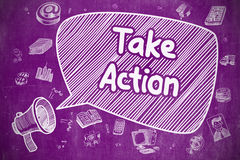 Take Action - Hand Drawn Illustration on Purple Chalkboard. Royalty Free Stock Photography