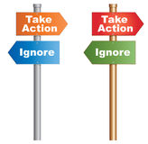 Take Action Ignore. Take Action or Ignore. Conceptual signboard about human behaviours. Vector, EPS10 Stock Image