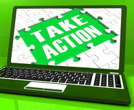 Take Action Laptop To Inspire And Motivate Stock Image