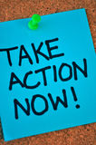 Take Action Now Note On Pinboard