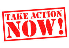 TAKE ACTION NOW!. Red Rubber Stamp over a white background Stock Image