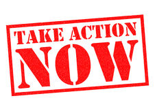 TAKE ACTION NOW. Red Rubber Stamp over a white background Stock Images