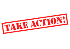 TAKE ACTION!. Red Rubber Stamp over a white background Stock Photos