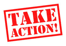 TAKE ACTION!. Red Rubber Stamp over a white background Stock Photo