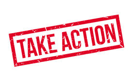 Take action rubber stamp. On white. Print, impress, overprint Stock Photo
