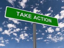 Take action sign. Green take action sign with blue sky and cloudscape background Stock Photo