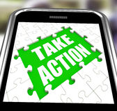 Take Action Smartphone Means Urge Inspire Or Motivate Royalty Free Stock Images