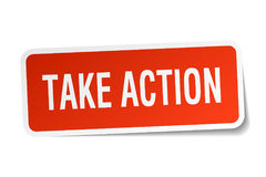 Take action square sticker. On white Royalty Free Stock Photography