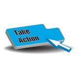 Take action web button. Blue button with the text take action written with black letters Royalty Free Stock Photo