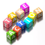 Take action words. Made of colorful toy blocks Stock Photography