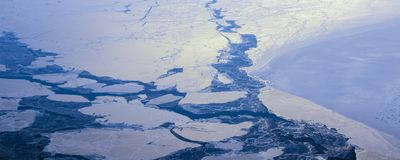 22Take an aerial view of the ice and sunrise over the bering strait.(1) royalty free stock image