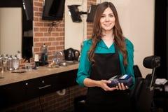 Female barber shop owner stock photo image 39930120