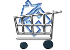 Take away. Shopping cart and home icon Royalty Free Stock Image