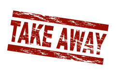 Take away. Stylized red stamp showing the term take away. Great to use for any kind of delivery service. All on white background Stock Image