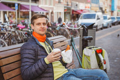 Take away breakfast in Amsterdam Royalty Free Stock Photography
