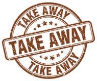 Take away brown stamp. Take away brown grunge round stamp isolated on white background royalty free illustration