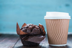 Take away coffe and chocolate muffin Stock Images