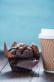 Take away coffe and chocolate muffin Royalty Free Stock Image