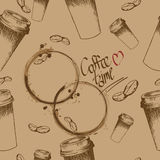 Take away coffee cup and beans pattern. Vector seamless pattern with take away coffee cups and coffee beans in brown colors Royalty Free Stock Photos
