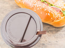 Take away coffee cup and hot dog Royalty Free Stock Photos