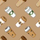 Take away coffee cup illustration pattern. Take away coffee cup beans pattern. Vector illustration, brown background Stock Photos