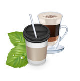 Take away coffee cup with leaves and latte glass Royalty Free Stock Photography