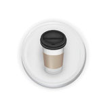 Take away coffee cup over white button Stock Photos